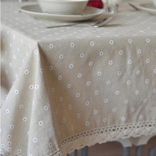 Hot Sale Linen and Cotton Tablecloth Dot Flower Pattern Lace Edge Rectangular Table Cloth Home Textile Free Shipping