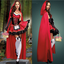 High quality Sexy Little Red Riding Hood dress Party adult Small RedCap cosplay costume for Women girl whole set(China)