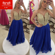 2017 Sexy high quality  Vestido De Festa Long Black Royal Blue White Chiffon A-line Backless Beaded Top Party Evening Gown