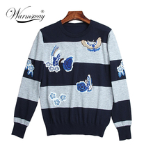 high quality women fall fashion butterfly floral embroidery Sweaters pullovers knitwear warm winter knitting capes  WS-124
