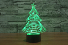 7Colors Changed LED Merry Christmas Tree Night Lights 3D Bulb Bedroom Lights Flashing Xmas Tree Baby Lamp for Home Party Decor