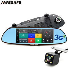"AWESAFE 3G 7"" Car DVR GPS Camera Mirror Android Full HD 1080P Video Recorder RAM 1GB/ROM 16GB Dual Lens Rearview Mirror Dash cam"