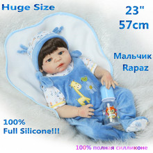 "23"" Newest Girl Solid Doll Bath Into Water Baby Reborn Dolls Lifelike Reborn Full Silicone Girl Reborn Babies Toys RB17-15HH(China)"