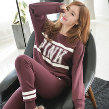 2XL Big Size Pyjamas Women Pyjamas Femme Pijamas Mujer 2017 Winter Knitted Cotton Letter Print Pyama