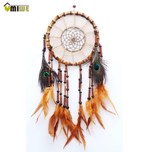 Umiew Dreamcatcher Gift Handmade Dream Catcher Net With Feather ABS Pearl Ornaments For Car Mirror Home Wall Hanging Decoration(China)