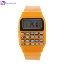 New Fashion Design Unisex Sport Watch Silicone Multi-Purpose Date Time Electronic Wrist Calculator Boys Girls Children Watch(China)