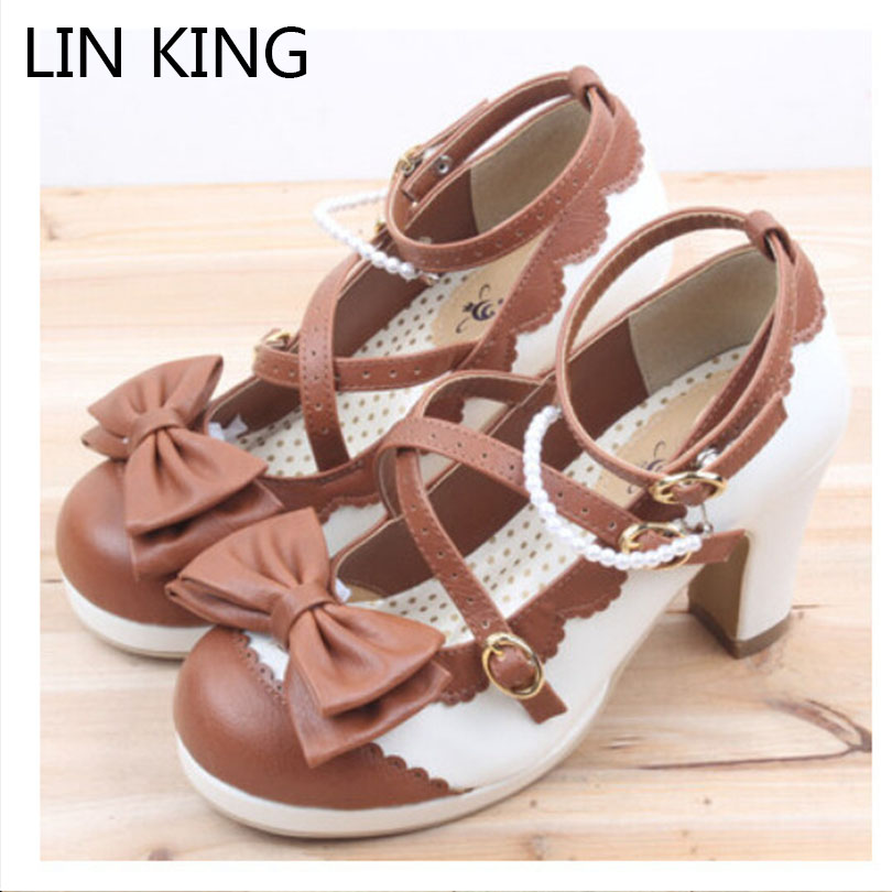 LIN KING Spring Fashion Sexy Lady Pumps Women Shoes High Heel Party Shoes Sweet Bowtie Round Toe Buckle Lolita Shoes Platform<br>