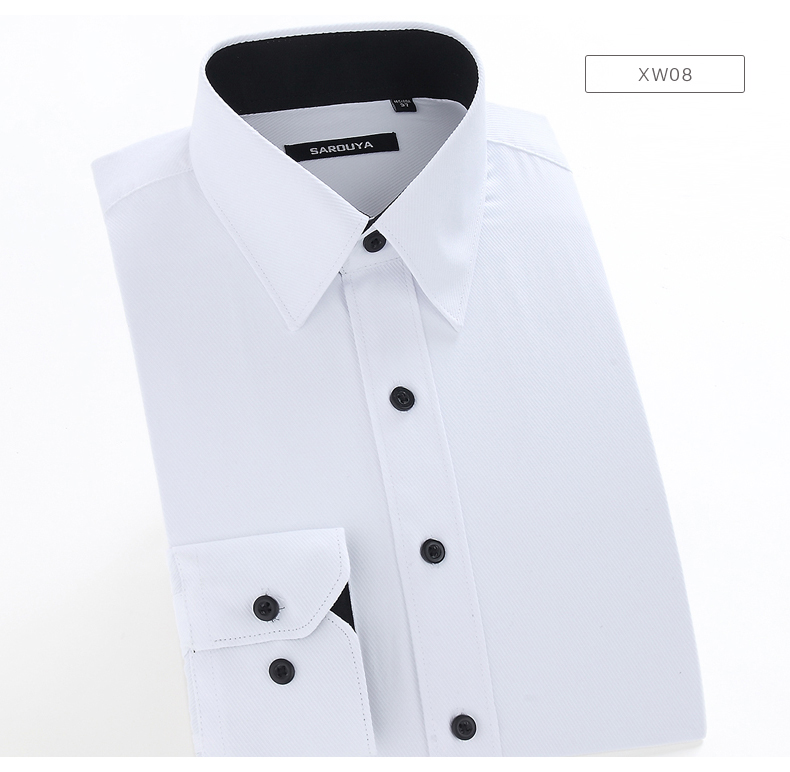 2019 Men\'s Regular Fit Solid Inner Contrast Point Collar Dress Shirt ...