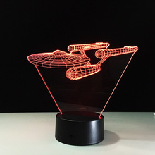 7 Color Touch and remote lamp Star Trek battleship 3D touch remote control LED lamp lights colorful visual gifts atmosphere lamp