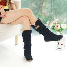 2017 Fashion Female Protect Snow Boots Autumn Winter Women Mid-calf Princess Sweet Boot Stylish Flat Flock Shoes XZ854991(China)