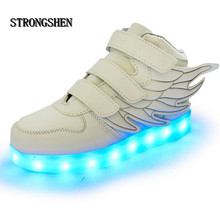 STRONGSHEN 2017 New USB Charging Led Children Shoes With Light Up Kids Casual Boys&Girls Luminous Sneakers Wing Shoe Hook&Loop