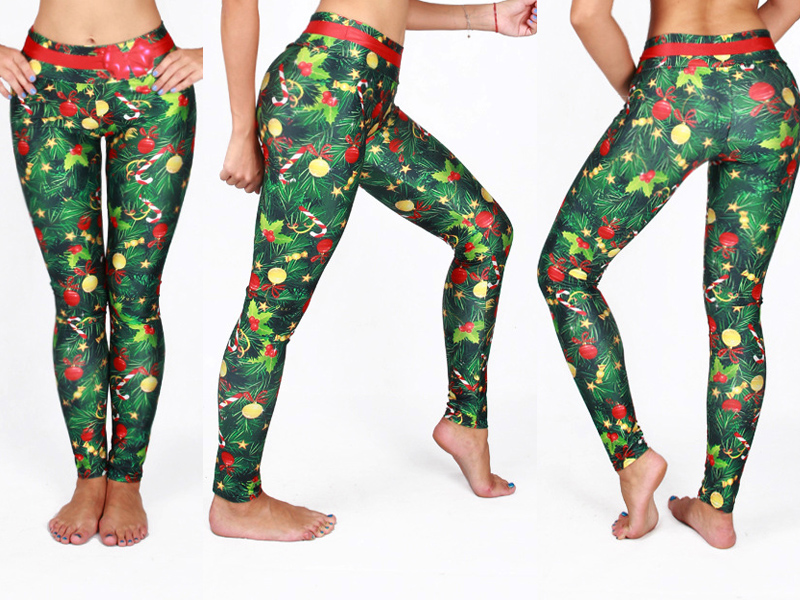 5 Styles Funny! 3D Print Christmas Leggings, Santa Claus, Trees Printed Festival Clothes 5 Styles Casual Legging 18