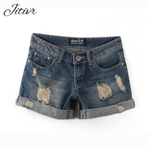 2017 Summer Women Button Hole Demin Shorts New Plus Size Women's High Waisted Cotton Denim Shorts Jeans Shorts Women's Jeans(China)