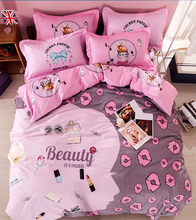 High quality cotton princess comforter quilt bedding sets queen size cartoon lip print pink duvet cover wedding bed sheet linen