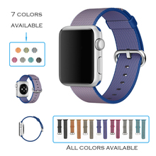 URVOI band for apple watch series 1 2 woven nylon strap for iwatch fabric-like feel wrist colorful pattern with classic buckle(China)