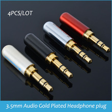 3 poles 3.5mm Audio Gold-Plated headphone plug 3.5 RCA Connectors jack Connector plug jack Stereo Headset Dual Track 4pcs(China)