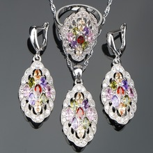 Women Wedding Silver 925 Jewelry Sets Earrings/Pendant/Necklace/Rings Set WittMulti Color Stones Zircon jewelery Gift Box(Hong Kong,China)