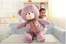 lovely huge purple teddy bear toy plush bow teddy bear heart bear doll gift about 100cm(China)