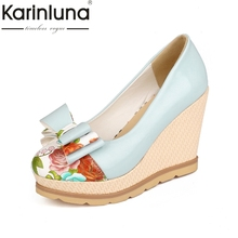 Women Pumps Sweet Butterfly-Knot Design Printing Wedges Round Toe Platform Shoes Women Casual Party Shoes 3 Colors(China)
