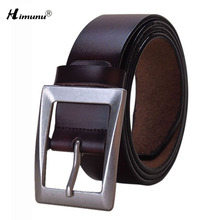 2016 New Luxury Genuine Leather Brand Name Belt for Men Jeans Belts Best Quality Male girdle Alloy Pin Buckle Light Himunu(China)