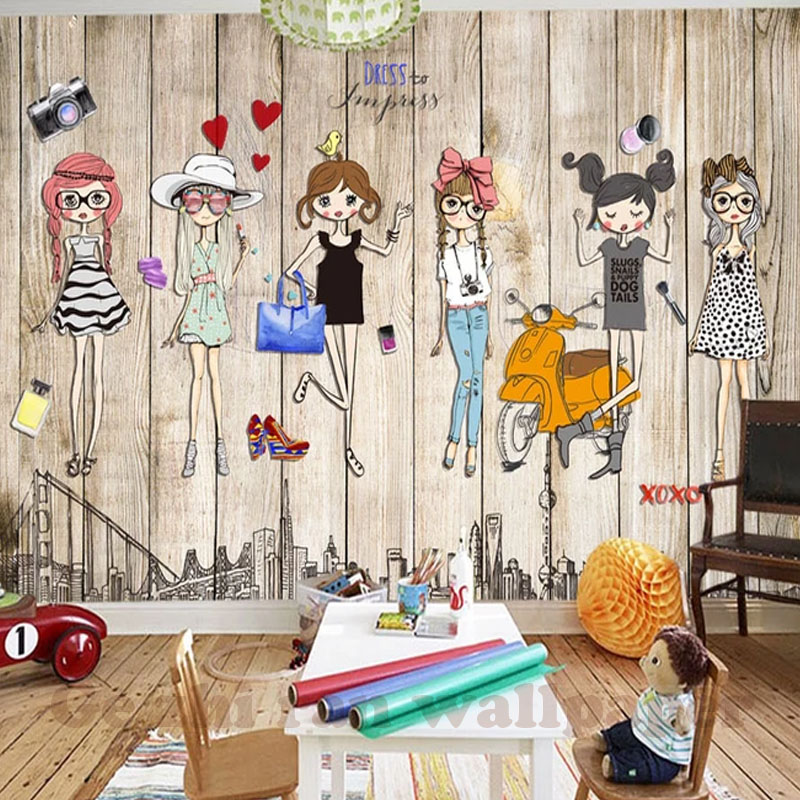 HTB1xlfLt29TBuNjy1zbq6xpepXa6 - Custom 3D Mural Hand-Ppainted Fashion Girl Wallpaper For Children Room