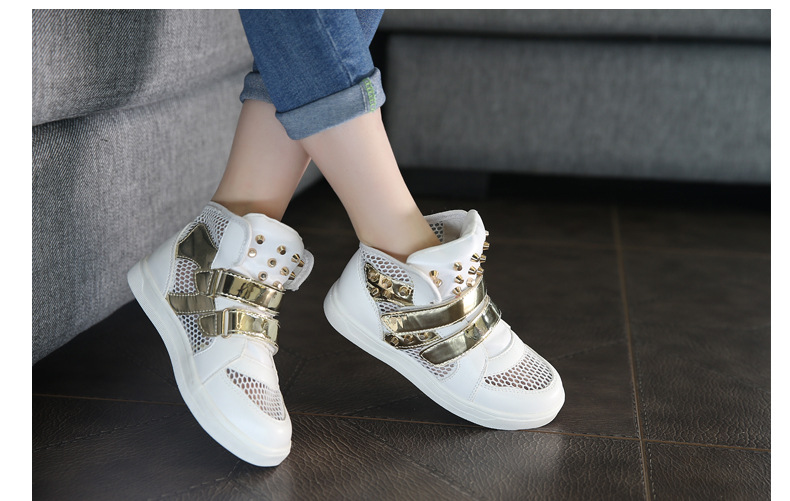 Kids Shoes Glowing Sneakers Baby Boys Girls Sport Shoes New Autumn tenis infantil Children Sneakers Black White with Gold Rivet 10