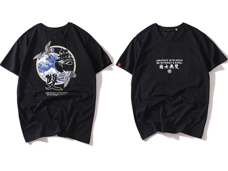Japanese Embroidery Crane Waves Tshirts 4