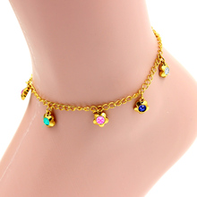 Fashion style stainless steel bracelets & bangles,  flower shape shiny colorful crystal rhinestone gold bracelet anklet