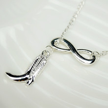 2016 Hot sales Boots Necklace American country Pendant Necklace High quality polished silver plated Boot Country Style Necklace