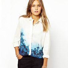 New Fashion Women Elegant Long Sleeve Shirts Tops Blue Floral Gradient Print Chiffon Casual White Blouse blusas S-XL 2017 Spring