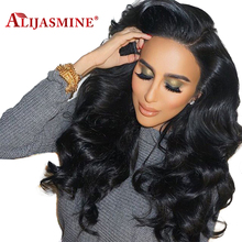 "Long Lace Front Human Hair Wigs With Baby Hair Pre Plucked Hairline Brazilian Remy Body Wave Wig 8""-24"" Natural Color AliJasmine(China)"