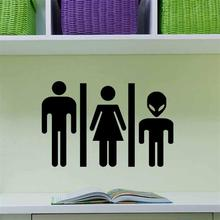 Man Woman Kid DIY Bathroom Wash Room Home Decor Public Place Inform Message Wall Stickers Shop Office Toilet Decor