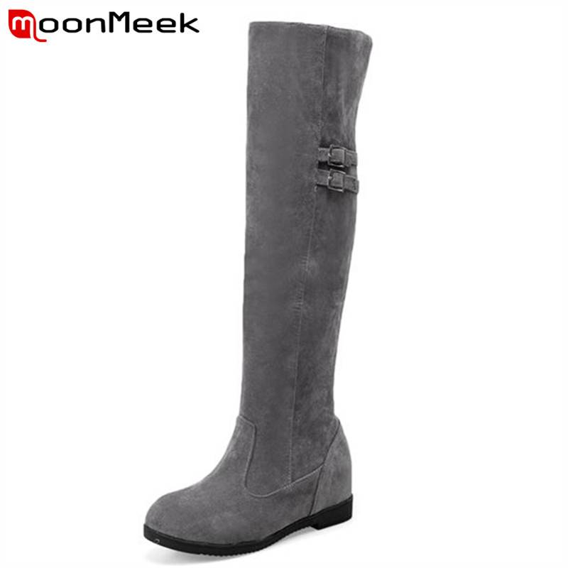 MoonMeek Over the knee boots women shoes elegant fashion winter boots solid flock long boots height increasing party keep warm<br>