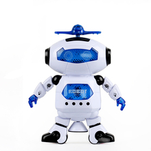 2017 New Electronic Robot 360 Rotating Space Dancing Musical Walk Lighten Toys Christmas Birthday Gift For Children Kids Boy