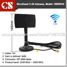 M2M 2.4Ghz 8dbi wifi antenna with magnetic base extension cable 3m RP SMA male connector inner hole