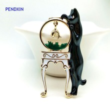Black cat fish tank small fish personality fashion brooch female kitten brooch clothing animal accessories