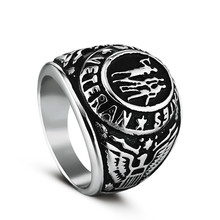 High quality 2 color Ring Silver Colored Marine Corps Veteran Ring Gold plating Military Collectibles ring(China)