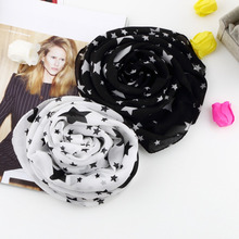 1Pcs Women Winter Necessity Black White Stars Scarf Chiffon Scarf Large Shawl Soft Comfortable Fashion Elegant Lady 2017 Autumn(China)