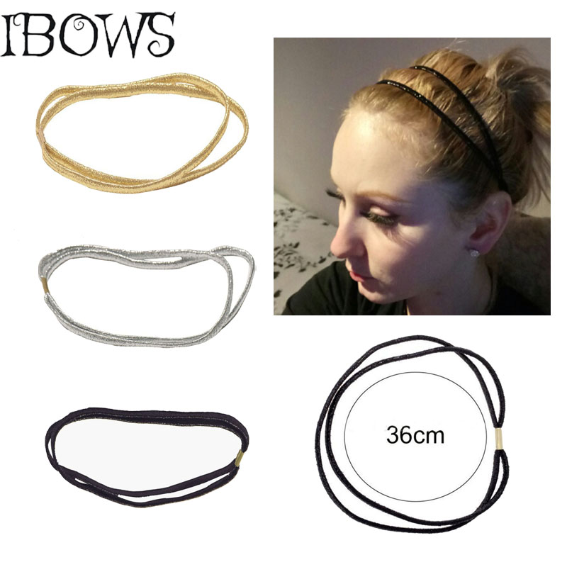 3Pcs/lot Women Girls Glitter Stretch Headband Bands Headwear Boutique Double Elastic Hair Hoop Hair Accessories(China)