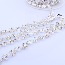 5 yards Fashion Sew on Crystal Rhinestone Chain Bridal Dress Belt Headband Applique Trim For Wedding Evening Dress Decoration