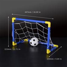 Folding Mini Football Soccer Ball Goal Post Net Set + Pump Kids Sport Indoor Home Outdoor Games Toys Child Birthday Gift Plastic(China)