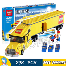 298pcs City Airport Great Vehicles Yellow Truck Model Building Blocks 02036 Assemble Bricks Children Toys Compatible With Lego