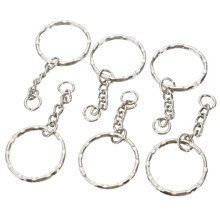Wholesale Car key Ring 50Pcs Keyring Blanks 55mm Silver Tone Keychain Top Quality Fob Split Rings 4 Link Chain Travel Buckle(China)
