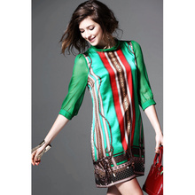 Fashion Chiffon Women Casual Vintage Green Print Dress Girls Temperament Scarf Collar Loose Waist Mini Dress(China)