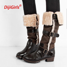 Luxury women knee high boots super warm russia snow boots rex rabbit fur winter genuine leather boots women,plus size 35-43