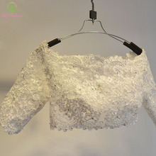 SSYFashion Luxury Handmade White Lace Sequins Beading Wedding Shawls Jacket Boat Neck Half Sleeves Bridal Shawl Wrap Accessories