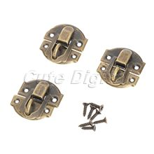 12pcs Antique Bronze Iron Latch Decorative Jewelry Gift Wine Wooden Box Suitcase Case Hasp Latch Hook With Screws 27x29mm