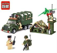 Model building kits compatible with lego city Soldier transport vehicle 832 3D blocks Educational toys hobbies for children