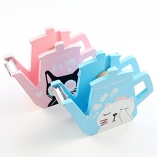 Cute cartoon cat Adhesive Tape Holder Dispenser Cutter Washi Tape Sticker Roll Storage Case Box Holder Organizer(China)
