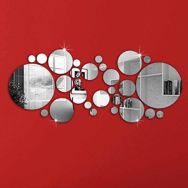 30Pcs DIY Acrylic Art Sticker Mirror Circle Silver Mirror Wall Stickers Home Bedroom Office Decor Mural Decoration